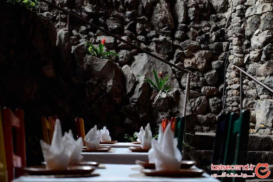 رستورانی در دل کوه آتشفشان در مکزیک 