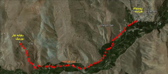 مسیر دسترسی به غار بورنیک