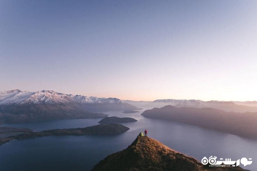 چادر زدن در بالای قله ریز - دریاچه واناکا