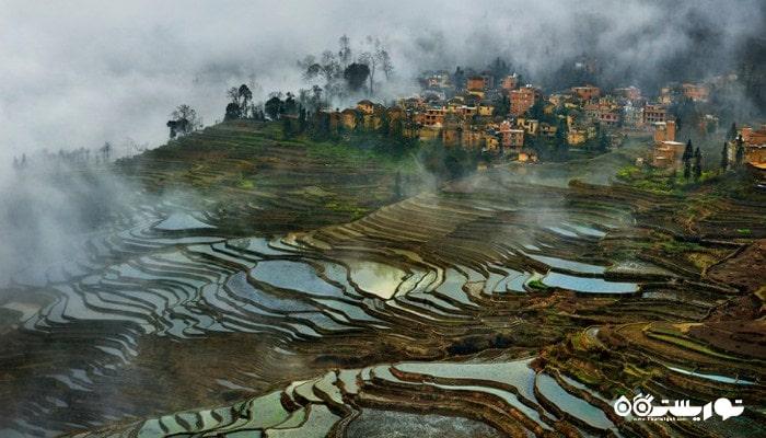 شالیزارهای پلکانی ایالت یوان یانگ در کشور چین